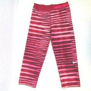 Nike Pro Tiger Print Leggings Capri Fuchsia Pink